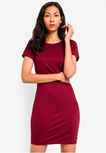 ZALORA BASICS red Basic Cap Sleeves Bodycon Dress BE774AA86D3AB0GS_1