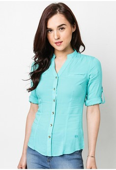 Quarter Sleeve Solid Blouse