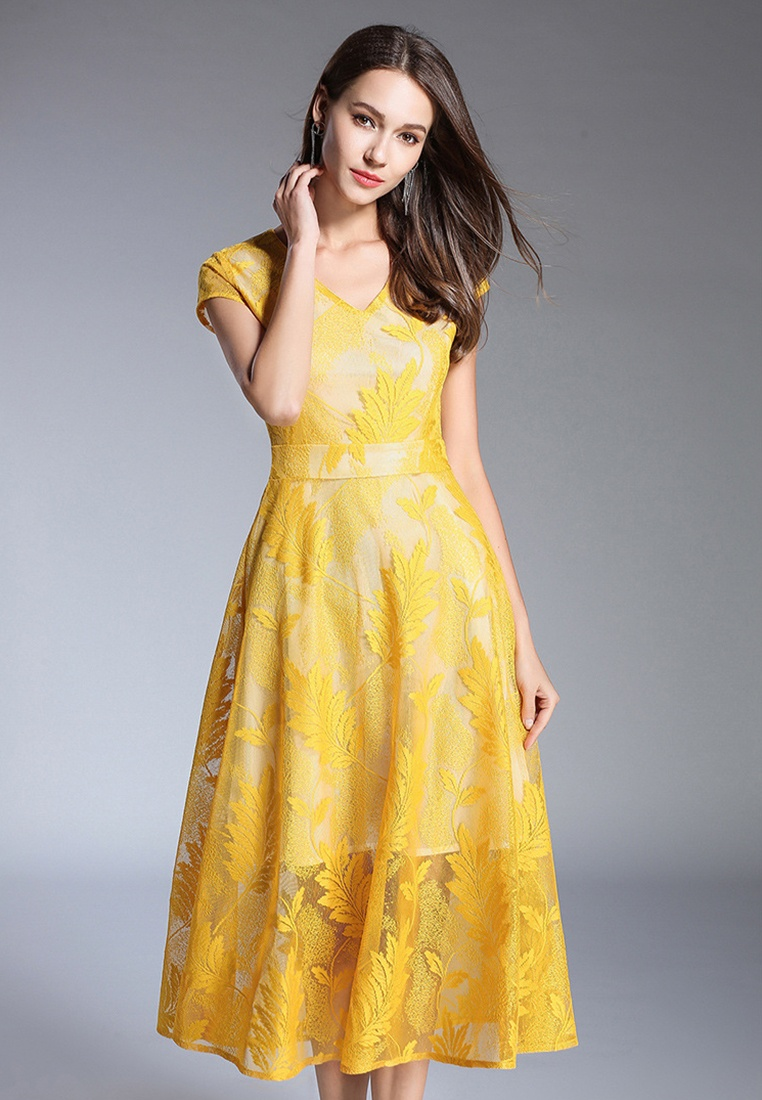 Sunnydaysweety New One Dress Sleeve Yellow V Piece Yellow Short 2018 Neck A060418YE Lace flared 4wfdqf7