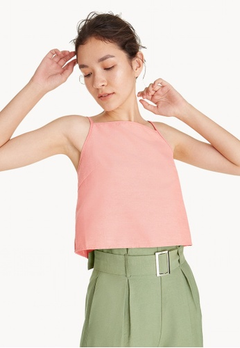 Pomelo red and orange Square Neck Cropped Tank Top - Peach 8CAD7AAE2618D5GS_1