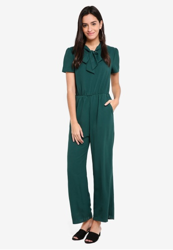 ZALORA green Neck Tie Jumpsuit B59A6AABA24546GS_1
