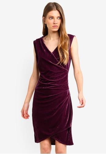 Brave Soul purple Wrap Over Drape Front Velvet Dress CA586AA2F12C00GS_1