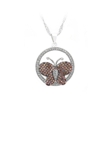 Glamorousky silver 925 Sterling Silver Butterfly Pendant with Brown and White Cubic Zircon and Necklace 297FFAC6A8828EGS_1
