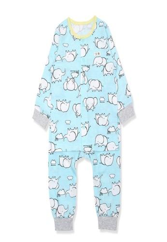 Organic mom blue Organic Cotton Coby Elephant Lightweight Long Sleeves Pjs E8F9EKA5CBBB58GS_1