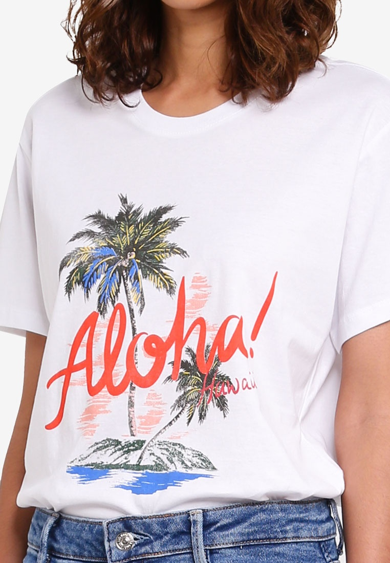 Graphic White Aloha Cotton Hawaii Fox T TBar On Shirt RBBzF6nt