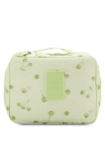 Bagstationz green BAGSTATIONZ Printed Travel Toiletries Pouch / Cosmetic Pouch BA607AC81BMOMY_1