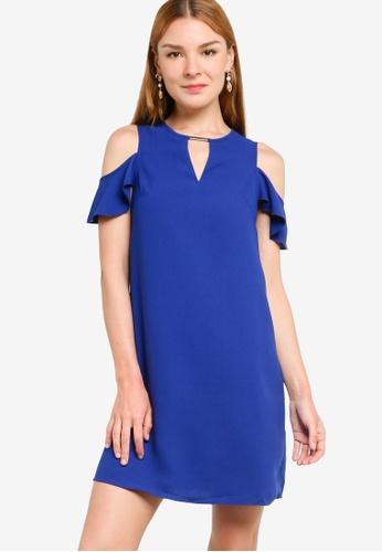 ZALORA WORK blue Metal Detail Cold Shoulder Mini Dress 36FF2AA695F3EEGS_1