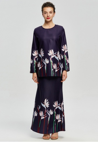 Bird-of-Paradise Prints Kurung Modern from Era Maya in Purple