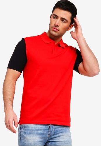 Calvin Klein 紅色 撞色POLO衫 BA494AA91281E6GS_1