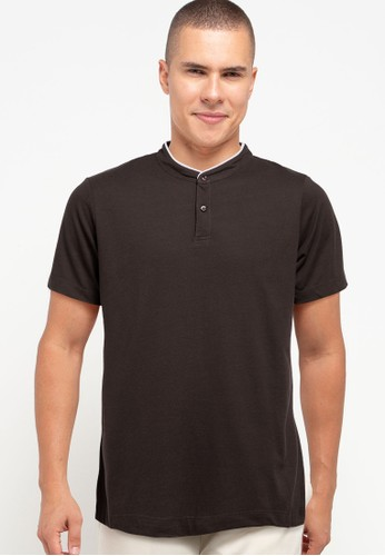 Tolliver brown Contrast Neck Detail Polo Shirt 8C723AAB05AA4FGS_1