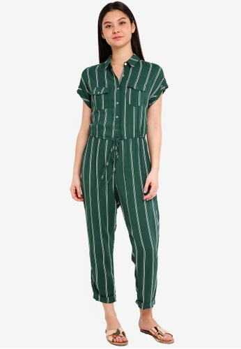 Cotton On green Woven Short Sleeve Boiler Jumpsuit 7741FAA9321A06GS_1