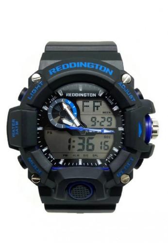 Reddington Jam Tangan Pria Hitam Biru Rubber Strap R2808