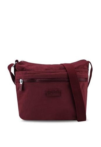 Bagstationz red Crinkled Nylon Multi-Compartment Sling Bag B4ECDAC6C93306GS_1
