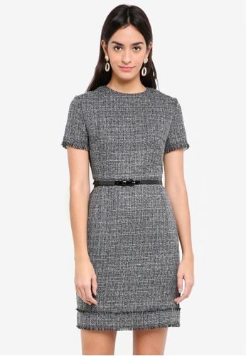 ZALORA grey and white Tweed Dress 252CCAAAF706A2GS_1