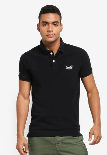 Superdry black Classic Pique Short Sleeve Polo Shirt 4732EAAE9EDEBEGS_1