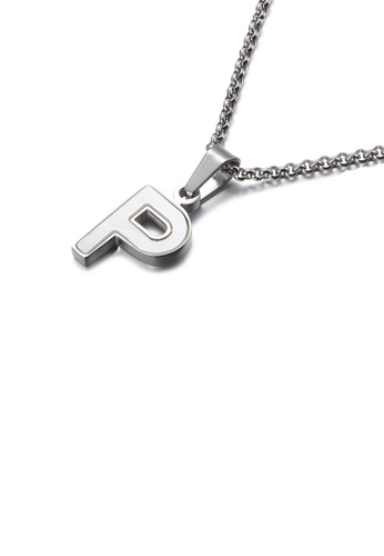 Glamorousky white Fashion and Elegant English Alphabet P Shell 316L Stainless Steel Pendant with Necklace F30FDAC3932071GS_1