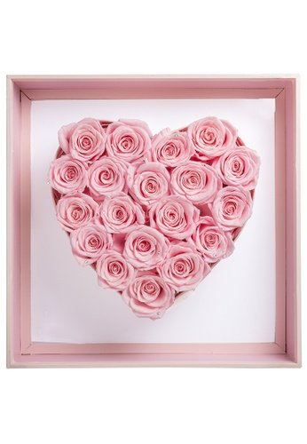 Her Jewellery pink Everlasting Preserved Rose with LED Lights - Angel Heart (Pink + Pink Frame) 89006HL47B5865GS_1