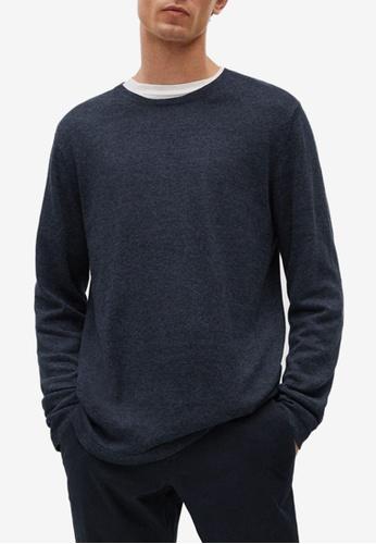 MANGO Man 藍色 Fine-Knit Linen Sweater 32A2DAA2408634GS_1