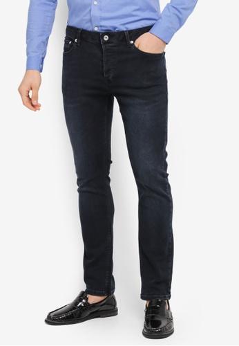 Topman grey Dark Smokey Wash Grey Stretch Slim Jeans TO413AA0T1J6MY_1