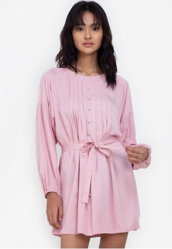 ZALORA BASICS pink Balloon Sleeve Dress 1F2DCAA139182EGS_1