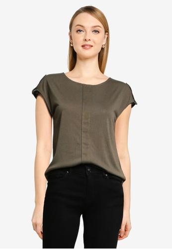 Springfield green Linen Effect Pleated T-Shirt 09E5FAAE939B61GS_1