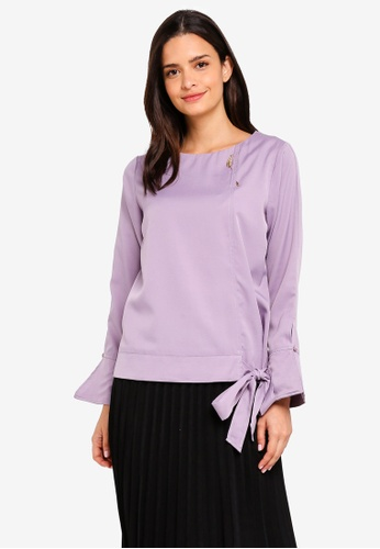 peace collections purple Side Tied Hem Blouse 84DFDAAFBF2186GS_1