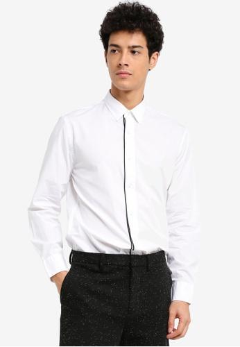 MANGO Man white Slim-Fit Contrast Trims Shirt 08149AAE0F7F6EGS_1
