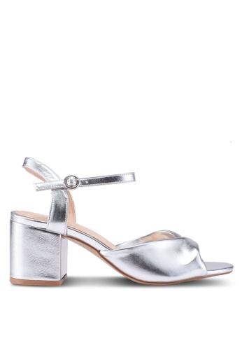 Public Desire silver Helix Mid Heel Sandals 8539FSHB00D0D9GS_1