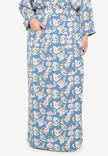 Lubna blue and purple Plus Size Print Pocket Skirt 65808AA374C3BDGS_1