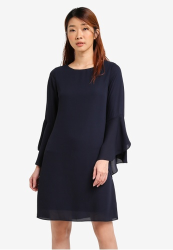 Dorothy Perkins navy Flute Sleeve Shift Dress DO816AA0SRDLMY_1