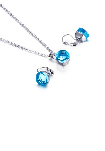 Glamorousky blue Fashion Simple Geometric Square 316L Stainless Steel Necklace and Earring Set with Blue Cubic Zirconia F8864AC72BB0B7GS_1