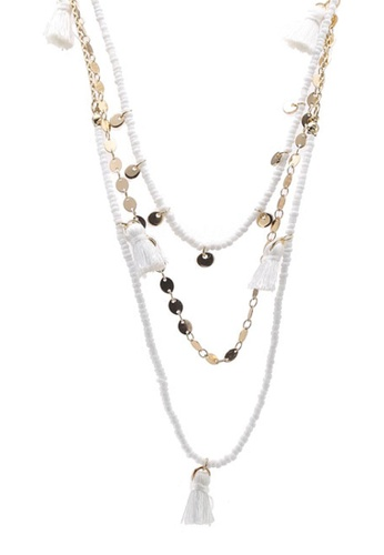 Layered Necklace With Tassel Tufts
