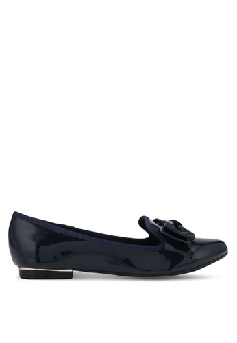 Velvet navy Patent Bow Loafers 51F93SH11DD8A0GS_1