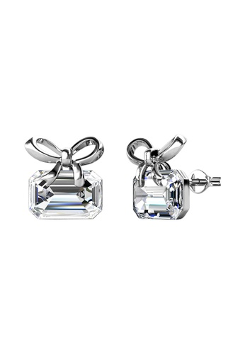 LOVE AND LIFE white Love & Life Poppy Ribbon Earrings (White Gold) embellished with Crystals from Swarovski 196C6AC22173A0GS_1