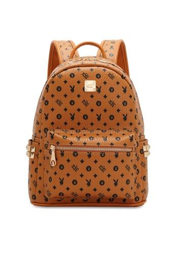 PLAYBOY BUNNY brown Women's Monogram Printed Backpack E195BACB7EFBD4GS_1