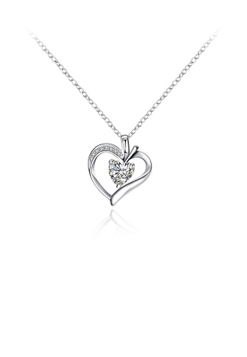 Glamorousky white Simple Heart Pendant with Cubic Zircon and Necklace 19380AC3BC0B76GS_1