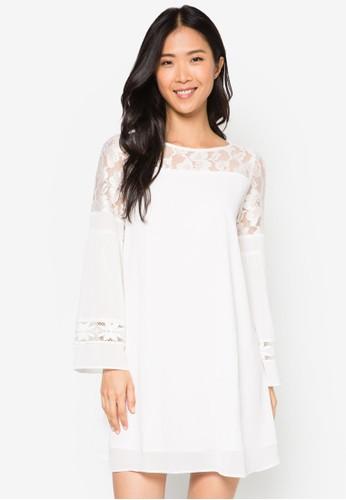 esprit暢貨中心Julie 蕾絲拼接長袖連身裙, 服飾, 洋裝