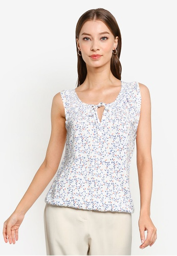 ZALORA WORK white and multi Notch Front Sleeveless Top 9C7A1AAAB3A9C6GS_1