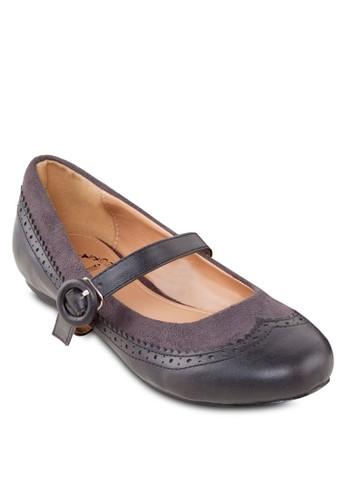 拼esprit 品牌接花邊踝帶平底鞋, 女鞋, 芭蕾平底鞋
