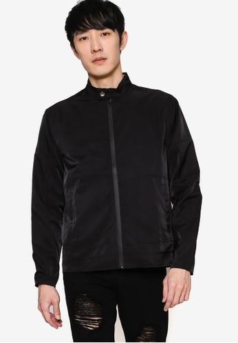 ZALORA BASICS black Nylon Biker Jacket 5240AAA52D6856GS_1