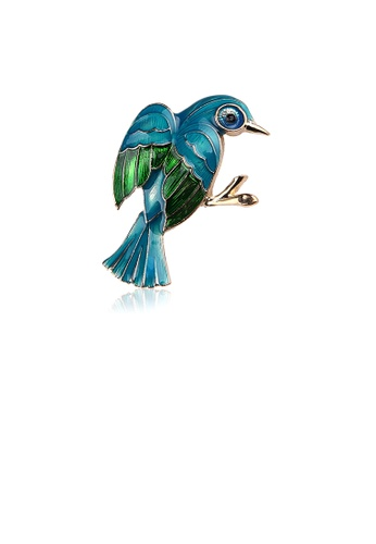 Glamorousky silver Fashion Simple Plated Gold Enamel Blue Bird Brooch D4127AC627EE0EGS_1
