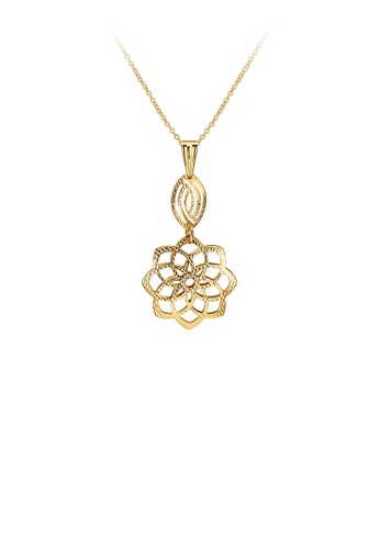 Glamorousky silver Gold Plated Elegant Romantic Fashion Rose Flower Pendant Necklace D3D33AC140EB3FGS_1