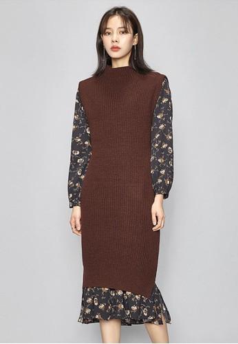 針織馬甲連衣長esprit hk outlet裙, 服飾, 及膝洋裝