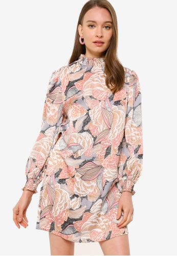 ZALORA OCCASION pink and multi Shirred Neck And Cuff Shift Dress 68F7CAABBFEAEAGS_1