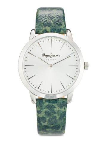 R2351122508 Amy 抽象印花esprit暢貨中心皮革圓錶, 錶類, 飾品配件