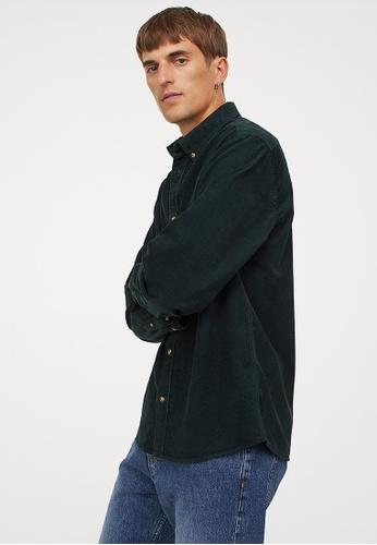 H&M green Regular Fit Corduroy shirt 2E36DAA3409FC9GS_1