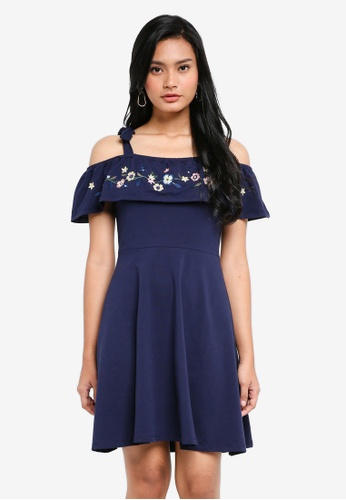 Dorothy Perkins 海軍藍色 Navy Embroided Fit And Flare DE57FAAEB9E756GS_1