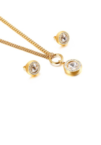 Glamorousky white Fashion Simple Plated Gold Geometric Round White Cubic Zirconia 316L Stainless Steel Necklace and Stud Earring Set EEF1FACFFCAEF8GS_1
