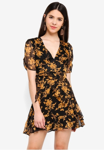 INDIKAH black and multi Short Sleeve Ruffle Skater Dress AA71FAA090159EGS_1