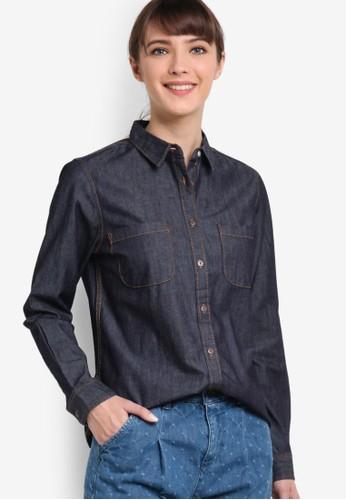 雙口袋丹寧襯衫, esprit 香港 outlet服飾, 襯衫